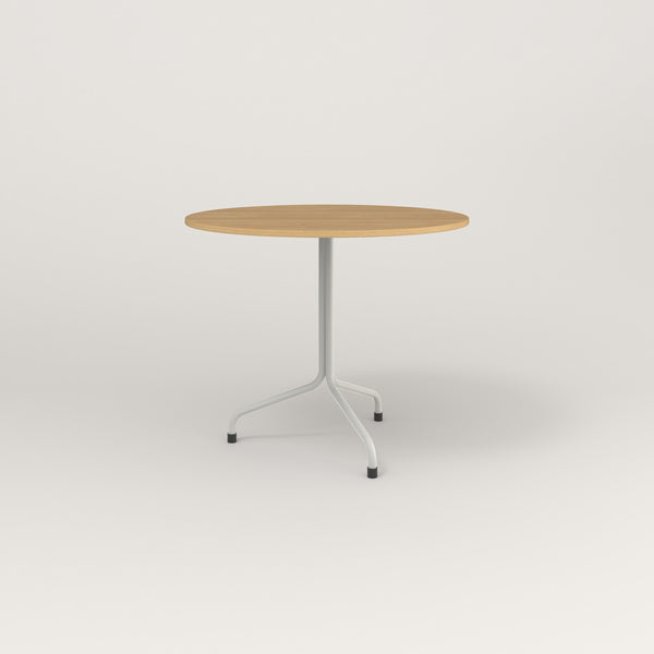 RAD Cafe Table, Round Tube Tripod Base in white oak europly and white powder coat.