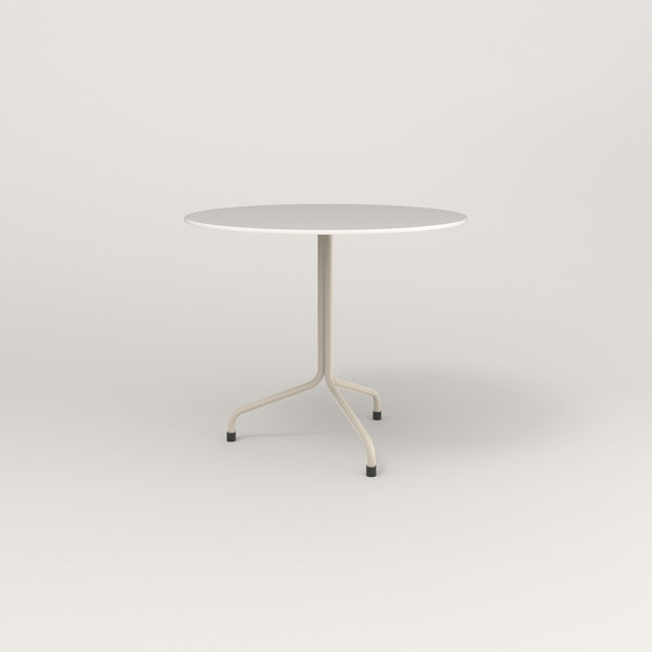 RAD Cafe Table, Round Tube Tripod Base in acrylic and off-white powder coat.