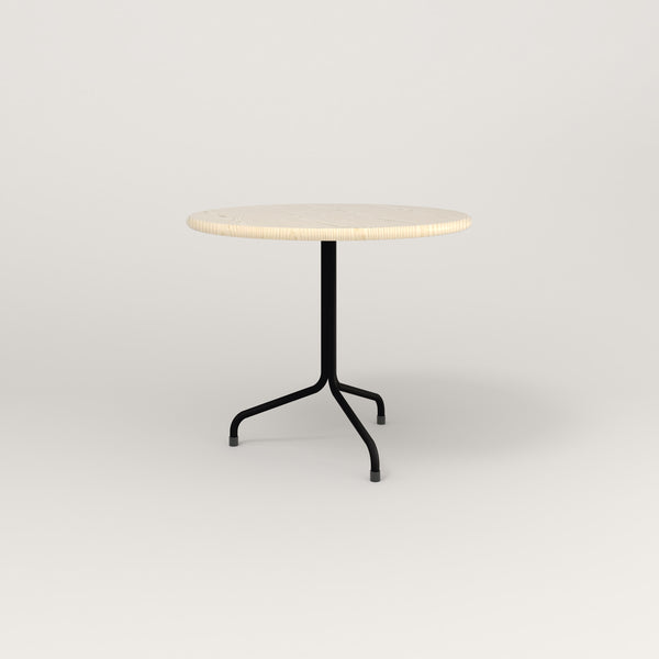 RAD Cafe Table, Round Tube Tripod Base in solid ash and black powder coat.