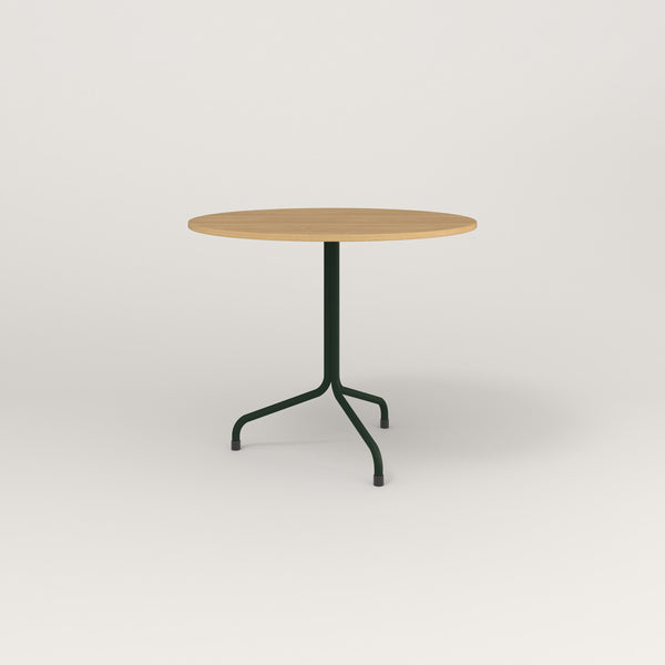 RAD Cafe Table, Round Tube Tripod Base in white oak europly and fir green powder coat.