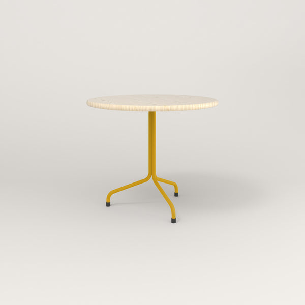 RAD Cafe Table, Round Tube Tripod Base in solid ash and yellow powder coat.