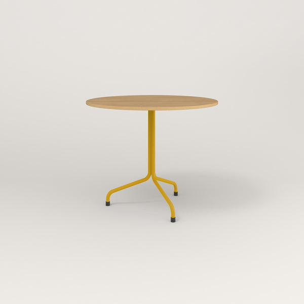 RAD Cafe Table, Round Tube Tripod Base in white oak europly and yellow powder coat.