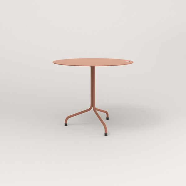 RAD Cafe Table, Round Tube Tripod Base in aluminum and coral powder coat.