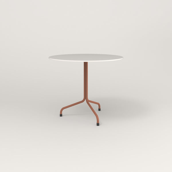 RAD Cafe Table, Round Tube Tripod Base in acrylic and coral powder coat.