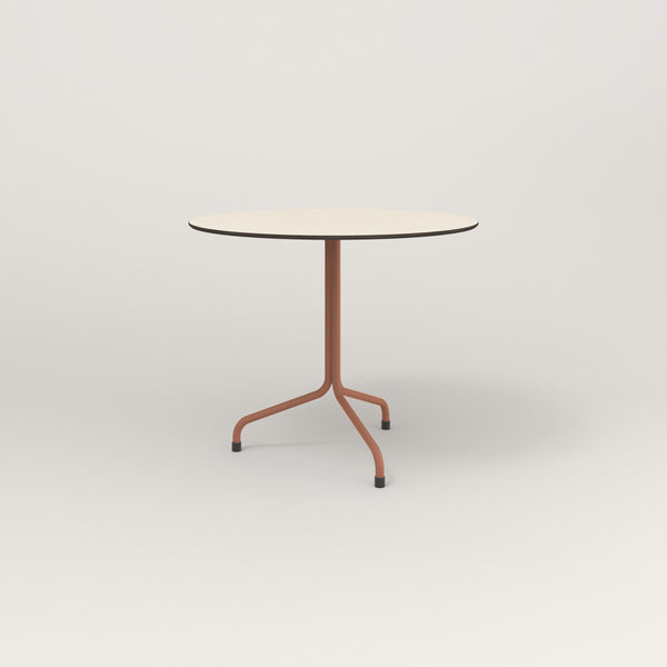 RAD Cafe Table, Round Tube Tripod Base in hpl and coral powder coat.
