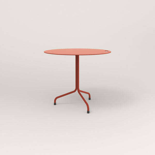 RAD Cafe Table, Round Tube Tripod Base in aluminum and red powder coat.