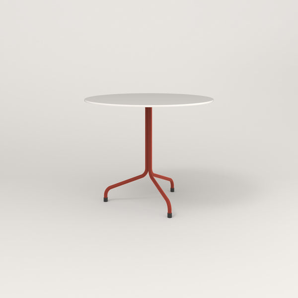 RAD Cafe Table, Round Tube Tripod Base in acrylic and red powder coat.