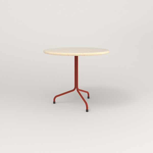 RAD Cafe Table, Round Tube Tripod Base in solid ash and red powder coat.