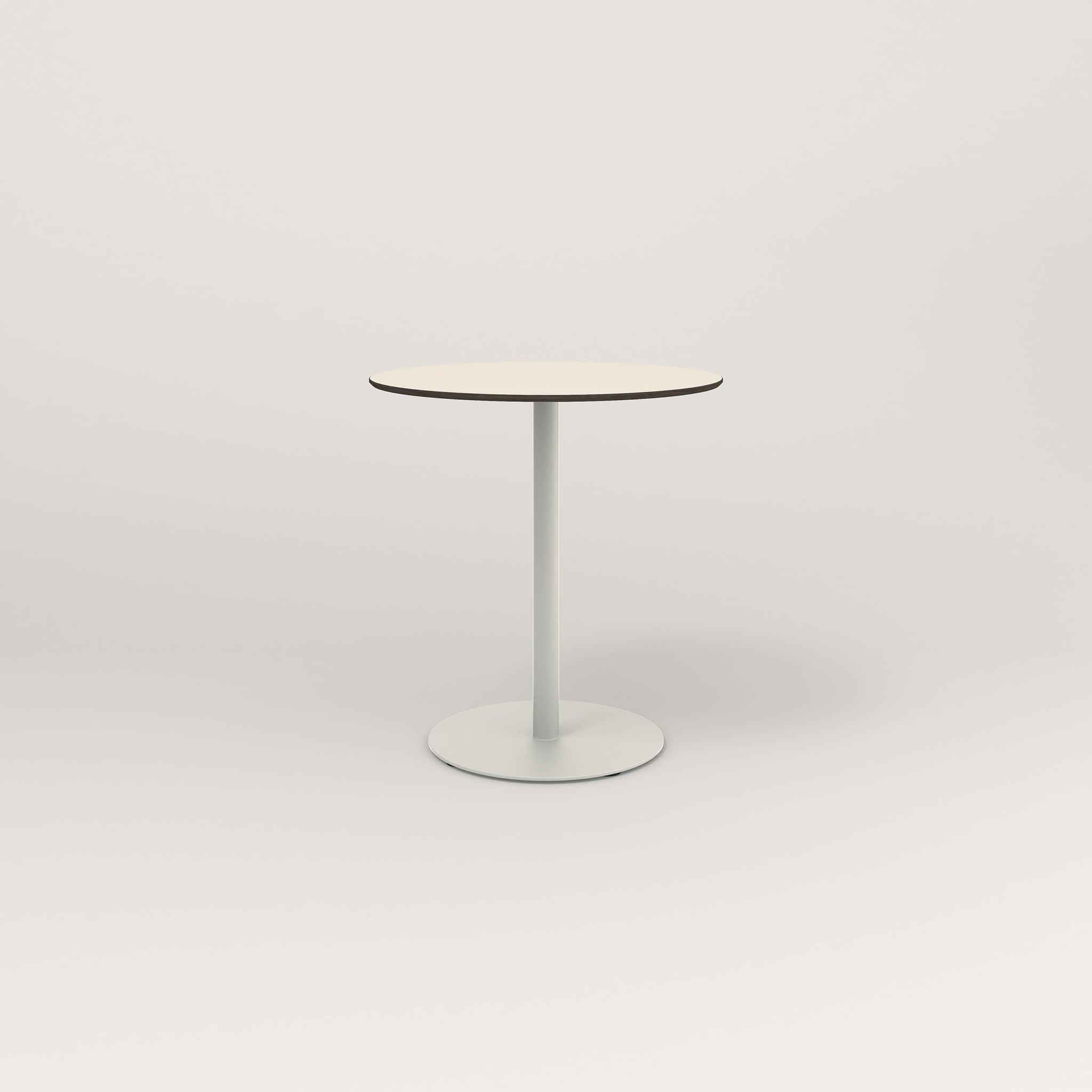 RAD Cafe Table, Round Weighted Base in hpl and white powder coat.