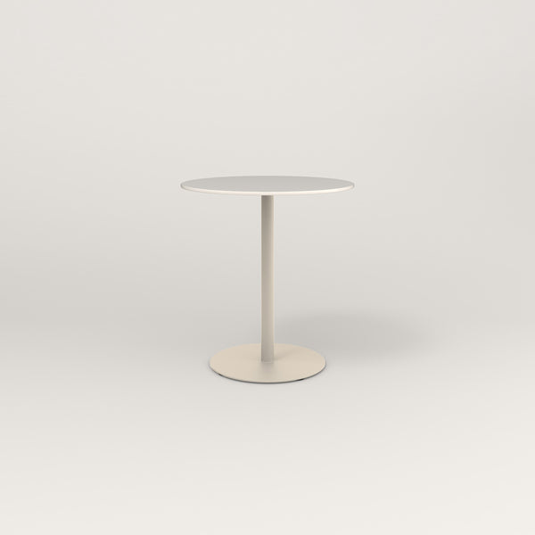 RAD Cafe Table, Round Weighted Base in acrylic and off-white powder coat.