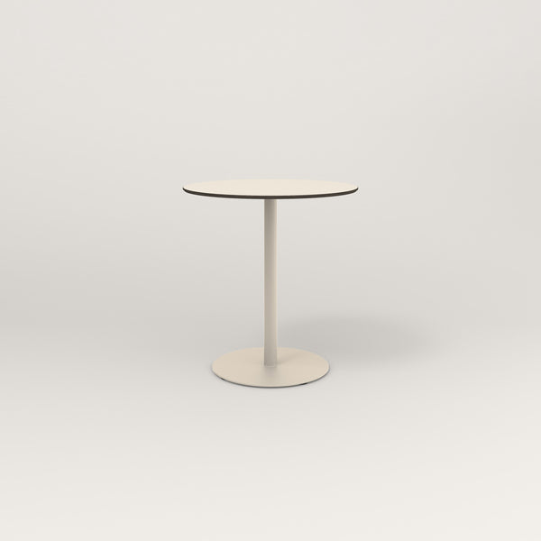 RAD Cafe Table, Round Weighted Base in hpl and off-white powder coat.
