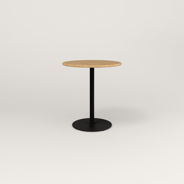 RAD Cafe Table, Round Weighted Base in solid white oak and black powder coat.
