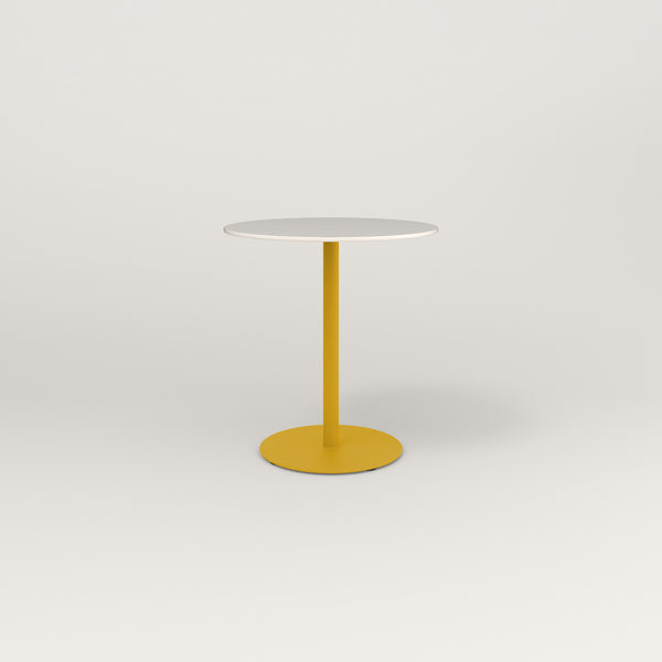 RAD Cafe Table, Round Weighted Base in acrylic and yellow powder coat.