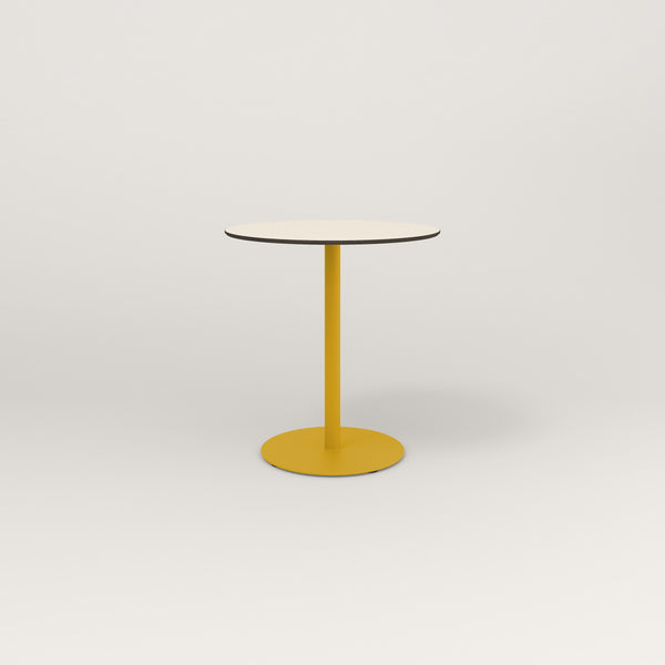 RAD Cafe Table, Round Weighted Base in hpl and yellow powder coat.