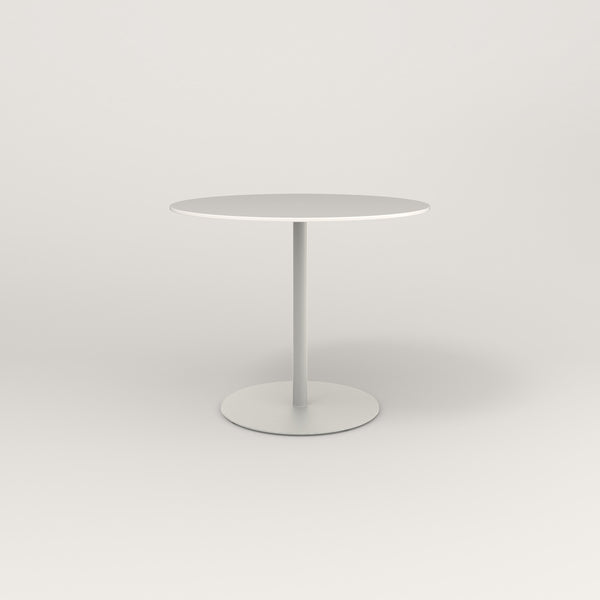 RAD Cafe Table, Round Weighted Base in acrylic and white powder coat.