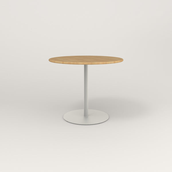 RAD Cafe Table, Round Weighted Base in solid white oak and white powder coat.
