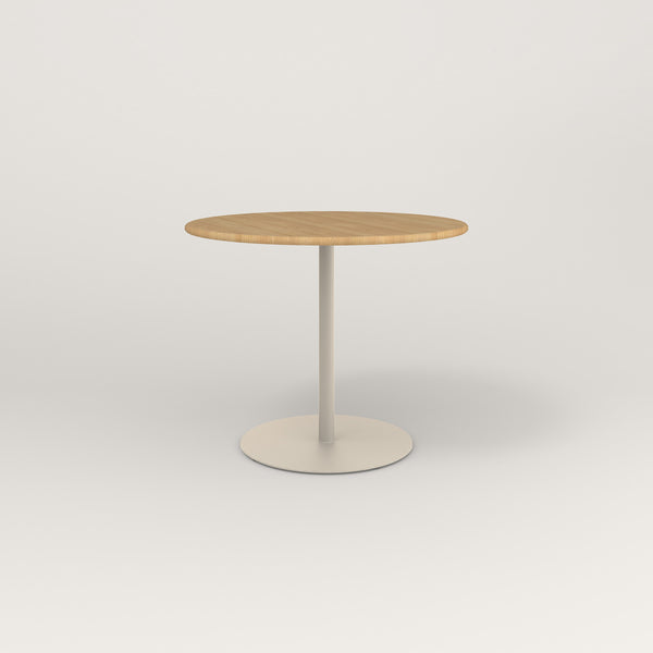 RAD Cafe Table, Round Weighted Base in solid white oak and off-white powder coat.