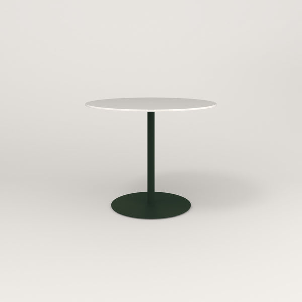RAD Cafe Table, Round Weighted Base in acrylic and fir green powder coat.