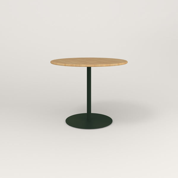 RAD Cafe Table, Round Weighted Base in solid white oak and fir green powder coat.