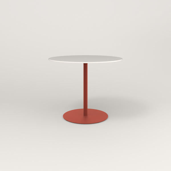 RAD Cafe Table, Round Weighted Base in acrylic and red powder coat.