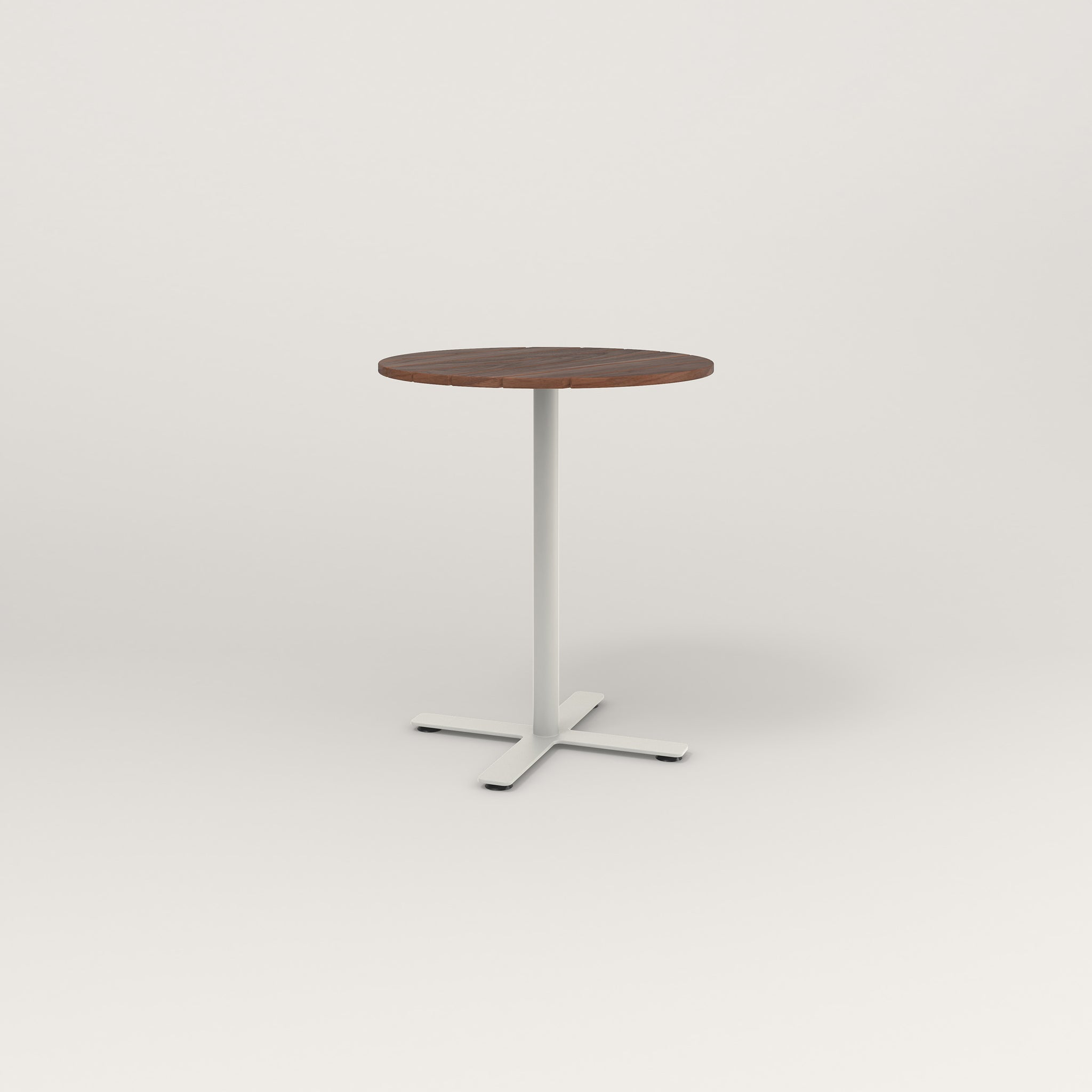 RAD Cafe Table, Round X Base in slatted wood and white powder coat.