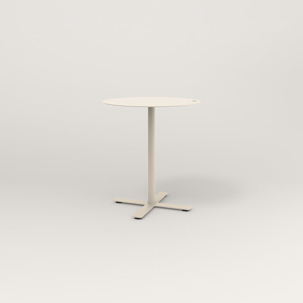RAD Cafe Table, Round X Base in aluminum and off-white powder coat.