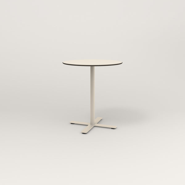 RAD Cafe Table, Round X Base in hpl and off-white powder coat.