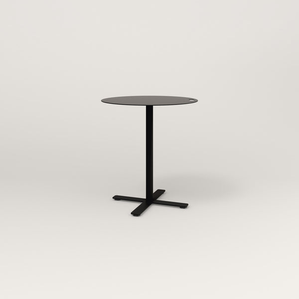 RAD Cafe Table, Round X Base in aluminum and black powder coat.