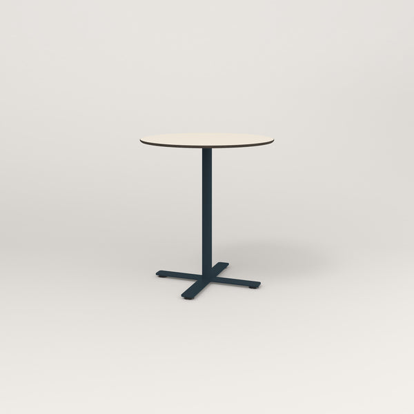 RAD Cafe Table, Round X Base in hpl and navy powder coat.