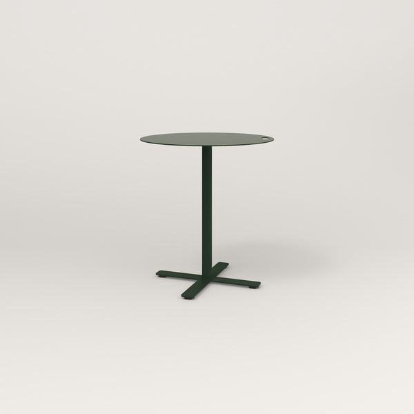 RAD Cafe Table, Round X Base in aluminum and fir green powder coat.