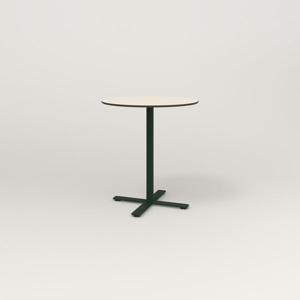 RAD Cafe Table, Round X Base in hpl and fir green powder coat.