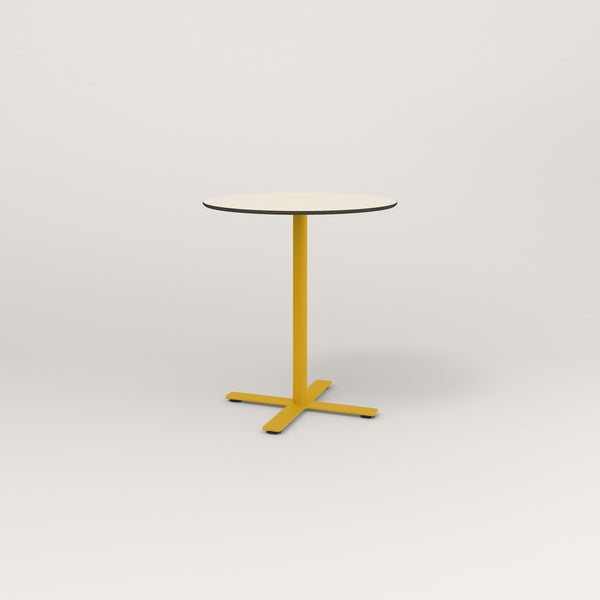 RAD Cafe Table, Round X Base in hpl and yellow powder coat.
