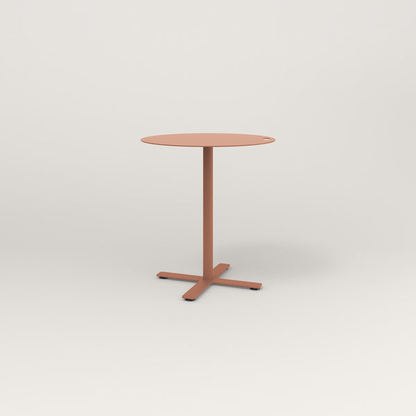 RAD Cafe Table, Round X Base in aluminum and coral powder coat.