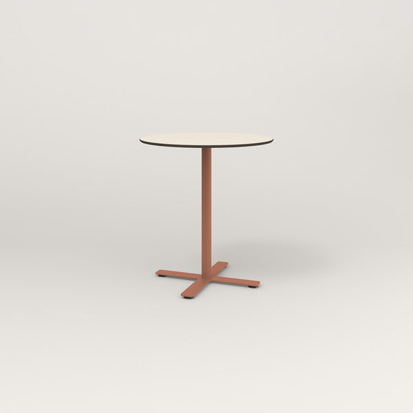 RAD Cafe Table, Round X Base in hpl and coral powder coat.