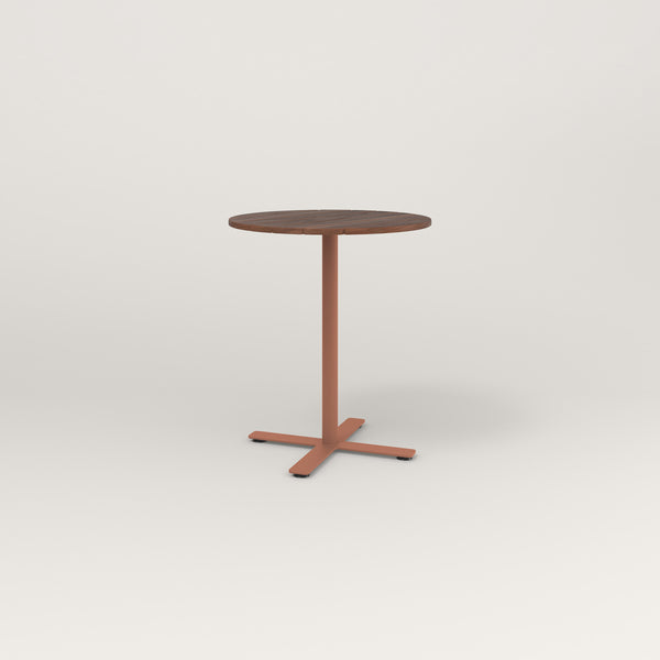 RAD Cafe Table, Round X Base in slatted wood and coral powder coat.