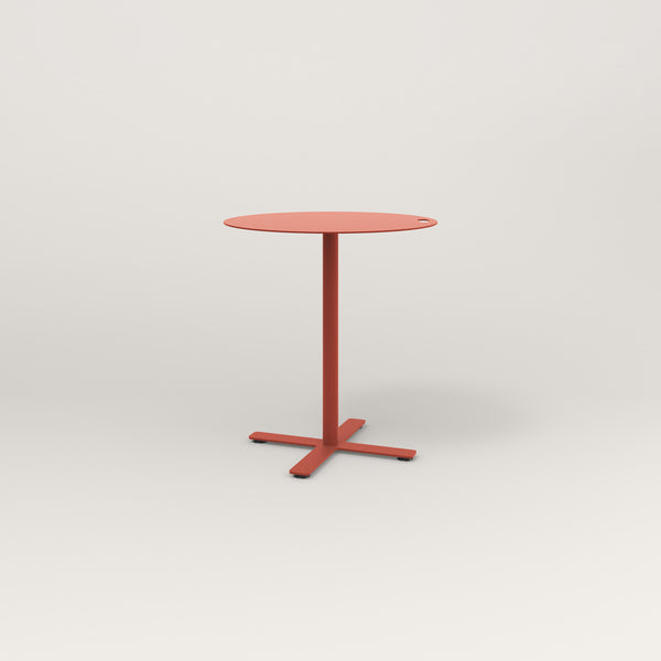 RAD Cafe Table, Round X Base in aluminum and red powder coat.