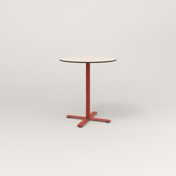 RAD Cafe Table, Round X Base in hpl and red powder coat.