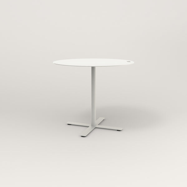 RAD Cafe Table, Round X Base in aluminum and white powder coat.