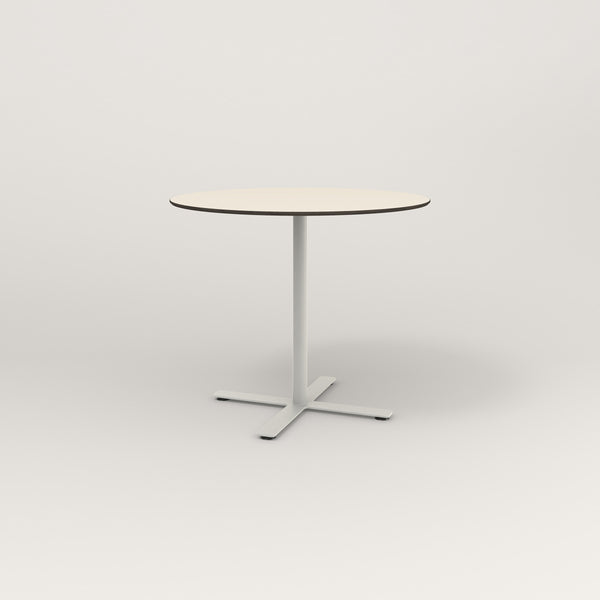 RAD Cafe Table, Round X Base in hpl and white powder coat.