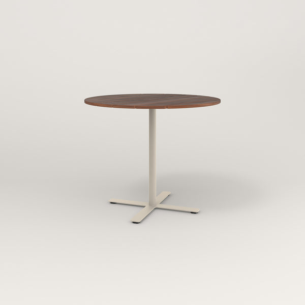 RAD Cafe Table, Round X Base in slatted wood and off-white powder coat.