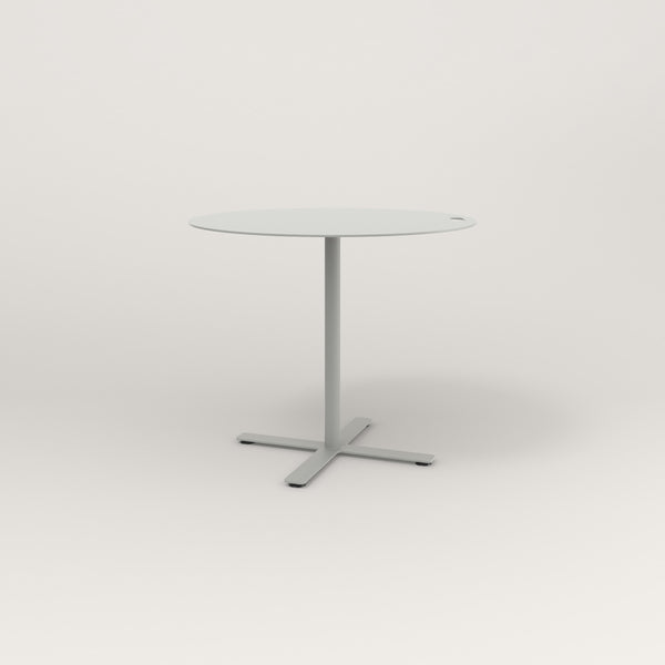 RAD Cafe Table, Round X Base in aluminum and grey powder coat.