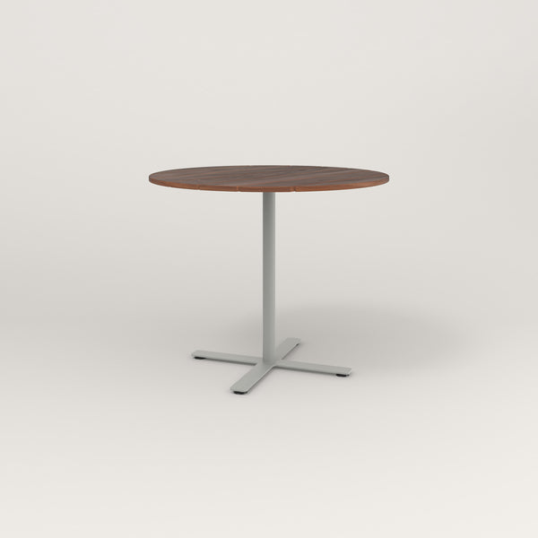 RAD Cafe Table, Round X Base in slatted wood and grey powder coat.