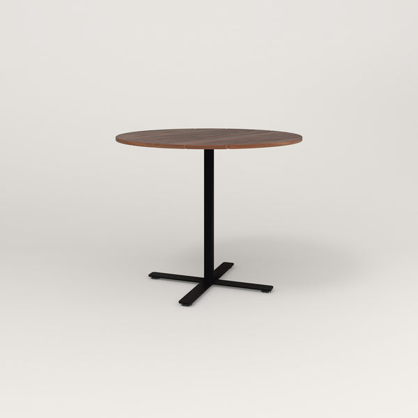 RAD Cafe Table, Round X Base in slatted wood and black powder coat.