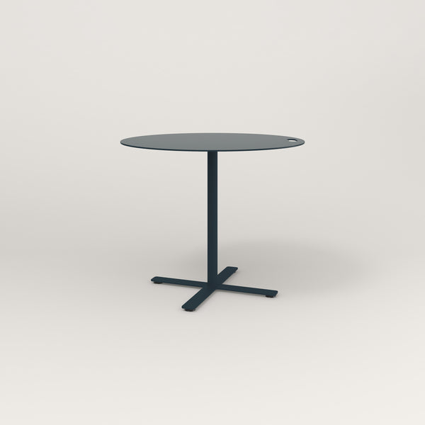 RAD Cafe Table, Round X Base in aluminum and navy powder coat.