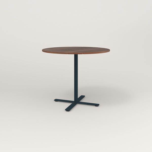 RAD Cafe Table, Round X Base in slatted wood and navy powder coat.