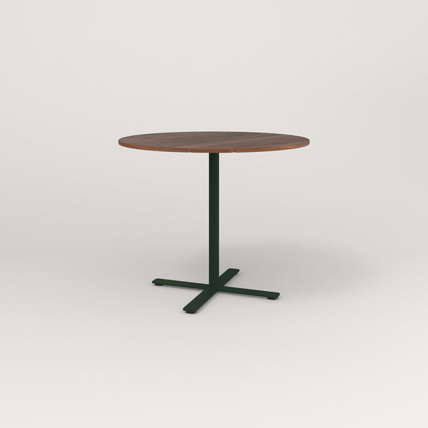 RAD Cafe Table, Round X Base in slatted wood and fir green powder coat.