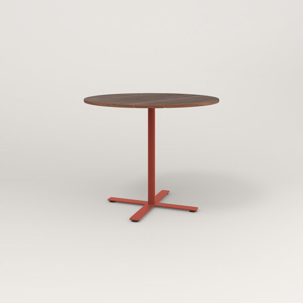 RAD Cafe Table, Round X Base in slatted wood and red powder coat.