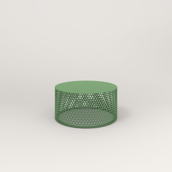 RAD Drum Coffee Table in solid steel and sage green powder coat.
