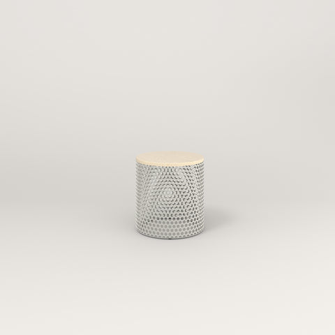RAD Drum Side Table in solid ash and white powder coat.
