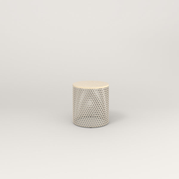 RAD Drum Side Table in solid ash and off-white powder coat.